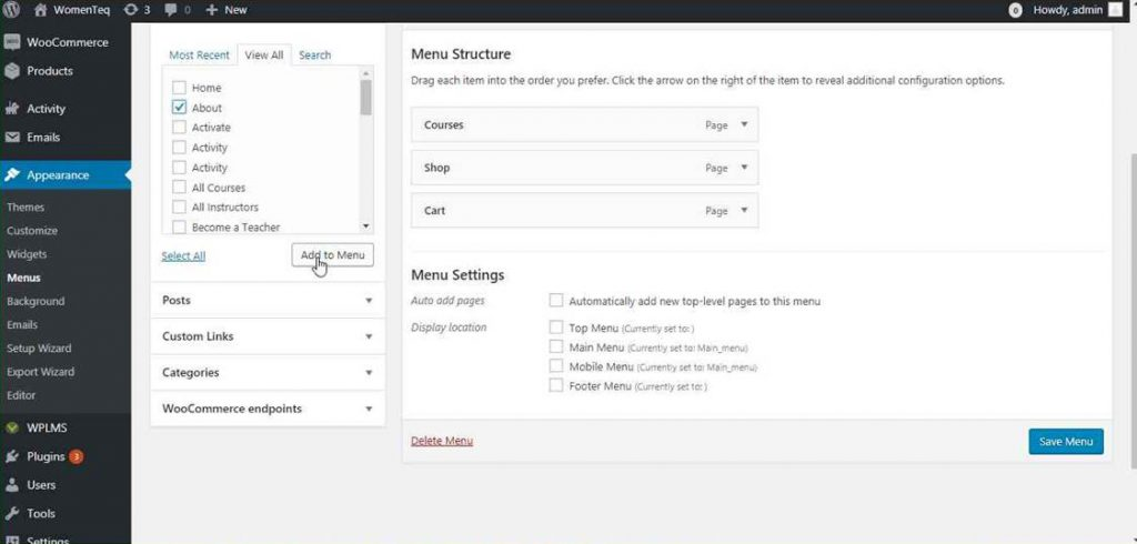 wordpress page navigation setup