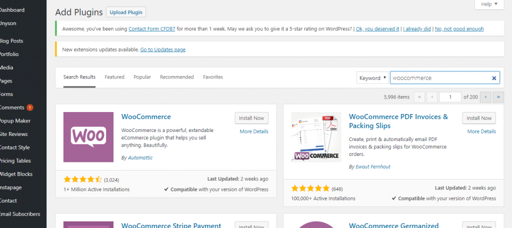WooCommerce Plugin Installation